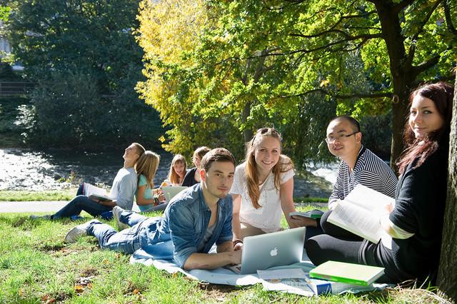 Studenten beim Lernen im Grünen